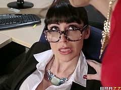 Eva Karera and Charlee Chase are two super horny office sluts and they are ready to do anything to get a raise. Watch them sucking and fucking like crazy sluts.