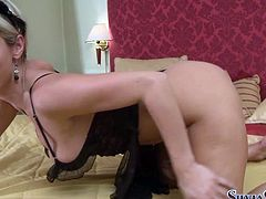 Attractive and kinky light haired babe with nice bodies and hot black dress touches her clit and finishes on the bed. Watch at this gal in Fame Digital xxx clip.