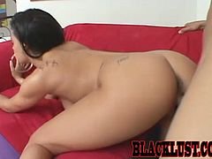 Make sure you see this! Watch this brunette babe, with big jugs and a shaved coochie, while she goes hardcore with a kinky fellow.