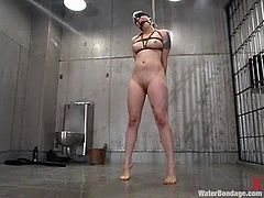 It's hard for a cute blonde like she to be in a place like this. Either way she was a filthy whore and filthy whores end up at Water Bondage, the place where they get clean with nice cold water and a lot of punishment. That's how we like to treat our sluts here and she's no exception so see her washed and dildo fucked!