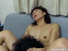Watch the slutty Asian milf Hisae Yabe end up with a mouthful of cum after being fucked a guy in the middle of her living room.