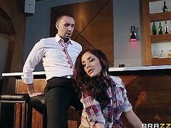 Mischa Brooks and the local bartender are ready for some hardcore drilling and after sucking on schlong she takes it deep into her horny pussy like a fucking pro.
