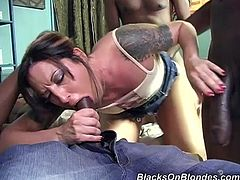 Get a hard dick watching a blonde doll, with small boobs wearing a miniskirt, while she gets gangbanged by several aroused fellows.
