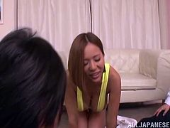 Press play and take a look at Ruri Saijoh's amazing breasts in this hardcore scene where she has a threesome with two lucky guys.