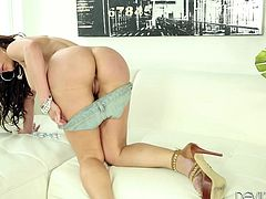 Check out this hardcore scene where the horny milf Aleksa Nicole masturbates with a dildo until she's wet enough to take tyhis guy's big cock.