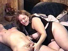 Have a good time watching this chubby lady, with big jugs and a hairy pussy, while she gets badly screwed after sucking a pipe in a reality clip.