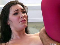 After she finished ridding the cock, Holly screams with satisfaction. She's all drained now, so she takes the dick in her hand and begins to suck it, like a whore. Then she receives it between her big, soft breasts and back, in her soaking wet pussy. Find out, if she's gonna squirt again!