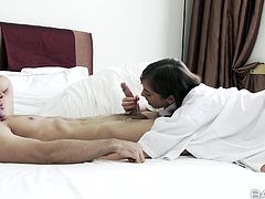 A sweet girl sucks a dick to wake up her boyfriend. Of course her wakes up together with his big dick. Tina gets pounded hard and deep in her wet pussy.