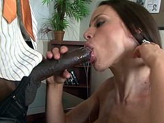 Its the first time Mckenzie Lee receives black cock in front of her hubby