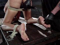Lila has a gorgeous booty and boy, does she looks hot all tied up, and bent over. The executor did a great job with that rope and made the slut immobilized, and powerless. Now all she can do, is stay there bent over, as he plays roughly with her pussy. Care to see what he will do with her ass? Then why not find out!