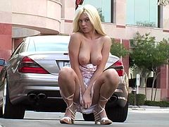 Stunning Alison Angel walks in the street. She pulls a dress down and shows her natural boobs. Alison also lifts the dress up to show her shaved pussy and ass.