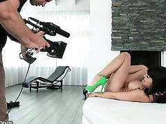 Aletta Ocean with massive hooters has fire in her eyes as she masturbates