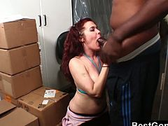 Sexy redheaded slut Mae Victoria is always ready to bang with a huge black cock. After she takes it into her mouth she wants this dude to fuck her pussy hard.