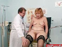 you will see: breast and vitals exam, palpation, taking a rectal temperature with glass thermometer, woolly vagina and anal test in addition to finger, vag gaping, adult toy therapy, plastic and metal pussy-spreader checkup, milk enema