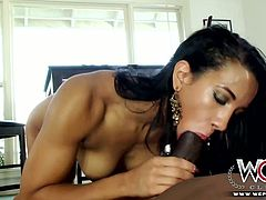 Kinky and attractive dark haired bitch with nice body and sexy curve gets her dripping pussy fucked and sucks the dick. Have a look at this chick in WCP Club xxx video.