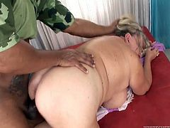 Light haired fat old slut with massive jugs lied in sideways pose on sofa. That feverish African freak decided to pound her stinky twat right away. Look at this passionate interracial fuck in Fame Digital sex clip!