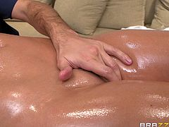 Take a look at what we have laid on the massage table. It's miss Alison, a brunette beauty with big round boobs and a curvy body. She stays there complete relaxed as her masseur slides his fingers between her pussy lips and sucks her nipples. Alison is turned on now and wants to repay him with a mean, lustful head.