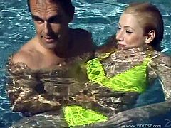 These two fuckers are in the pool and decide that it'd be cool if she submerged and sucked his dick underwater. Check it out right here!