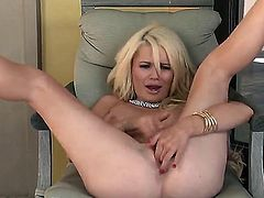 Turned on naked blonde Alexis Ford with red nails and pierced belly button spreads long legs while teasing lover in pint of view and fingers shaved pink honey pot to orgasm.