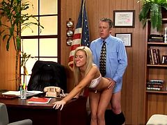 A blonde chick pays a visit to the guy´s office. Doors are shut and all that is about to happen, will be off the record! See what happens when this slutty female removes her panties. He also gets his pants unzipped, because it´s blowjob time! If you take a peak, you´ll see some pussy and assfucking!
