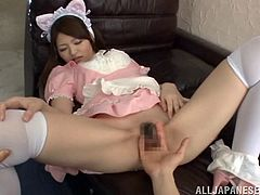This Japanese teen is cute, as a kitten and she is dressed like one, too. She loves cosplay, but she loves sex even more. Watch as she spreads her legs wide open and lets her man finger that warm, sweet, wet and hairy cunt of hers. Good kitty!