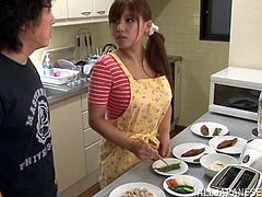 Check out this hot scene where this horny Asian babe is eaten out by this guy before she sucks his hard cock in her own couch.