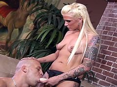 Peggin scene with hot blonde dominant bitch