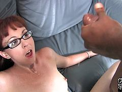 Share this with your friends! Watch a brunette MILF, with a nice ass wearing glasses, while she has interracial sex in front of her cuckold.