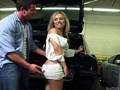 Take a look at this hot scene where the hot shemale Celeste gets fucked by a guy on the trunk of an SUV until her mouth's filled by cum.