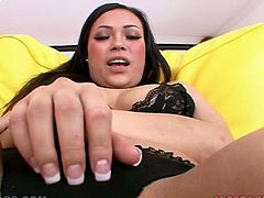 Horny and sexy dark haired bitch with awesome body and nice curve takes off her hot lingerie and gets fucked by man's finger. Have a look at this babe in My XXX Pass sex clip.