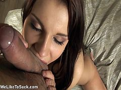 We get a fantastic POV look at this babe as she sucks this guy until he explodes and shoots his load all over her chest.