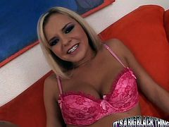 Smiling blondie loves to polish meaty black cocks and play with her juicy big boobs. She sucks huge black cock standing on her knees and rubs her pussy at the same time.