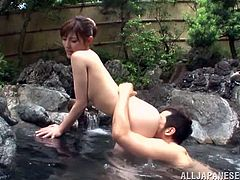 A sexy Japanese girl gets soaped and washed in a traditional Japanese outdoor bath. Then she gets her tits and pussy licked. Of course Kanako also takes pussy pounding.