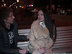 While sitting on a bench, this guy convinced this brunette cutie to swing by his place. She went there and got a nice creampie after a deep fuck on the bed.