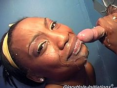Be part of this reality clip where an ebony lady, with a nice ass and natural boobs, while she sucks a white pole and moans like a real pornstar.