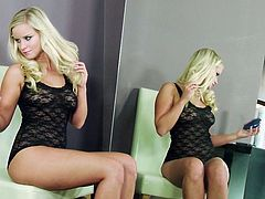 Long and light haired whorish sex pot with massive boobies and nice ass sat on chair and spread her legs apart. Her pinkish tacky pussy starved for fingerfuck.Look at this hot blonde in Twistys porn clip!