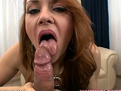 Big breasted nympho Janet Mason gives her lover a great blowjob