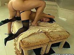 Have fun watching this Asian brunette, with natural boobs wearing nylon stockings, while she goes really hardcore in a glamorous place.