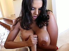 Sexy sexy Missy Martinez is delighting dudes aroused shaft with zealous handjob and titty fuck