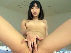 Charming Japanese girl Chika Kitano pleases herself with masturbation indoors and lets her BF watch her. Then she takes his dick in her hands and massages it tenderly.