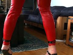 Enjoy curious brunette slut Cheyenne Jewel in red latex cloth fuckign with John Stagliano