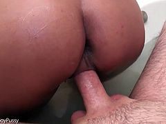 POV hardcore sex with post op ladyboy in bathtub