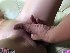 Perfectly shaped porn actress Stevie Shae rides hard stick on top