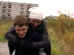 Gentle amateur scene with a sexy brunette Eva Cats and her boyfriend
