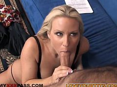 Busty blonde Carolyn Reese gives eager blowjob and masturbates her muff