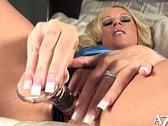 Ahryan Astyn is an alluring blonde milf ready to put on a hell of a show. Watch her flaunting her hot tits while dildoing her pussy into heaven with a big dildo!
