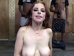 Maddy Oreilly sucks a lot of BBCs and gets cum all over her face