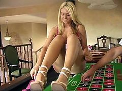 Alison Angel was in a gambling mood so she decided to get naked, crawl up on the roulette table and see just how lucky she was.