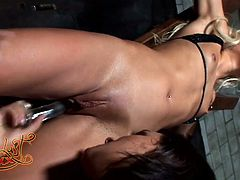 Horny and attractive light haired bitch with awesome body and nice boobs licks brunette's cunt and gets drilled by the dildo. Have a look at this whore in My XXX Pass sex clip.