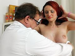 A visit to the doc brings mature redhead a lot of pussy stimulation